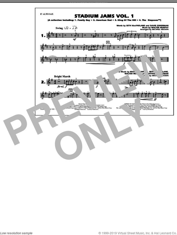 Stadium Jams, vol. 1 sheet music for marching band (Eb alto sax) by Michael Brown, intermediate skill level