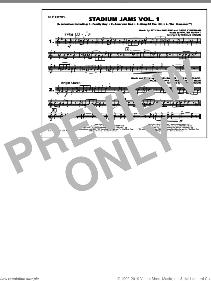 Stadium Jams, vol. 1 sheet music for marching band (1st Bb trumpet) by Michael Brown, intermediate skill level
