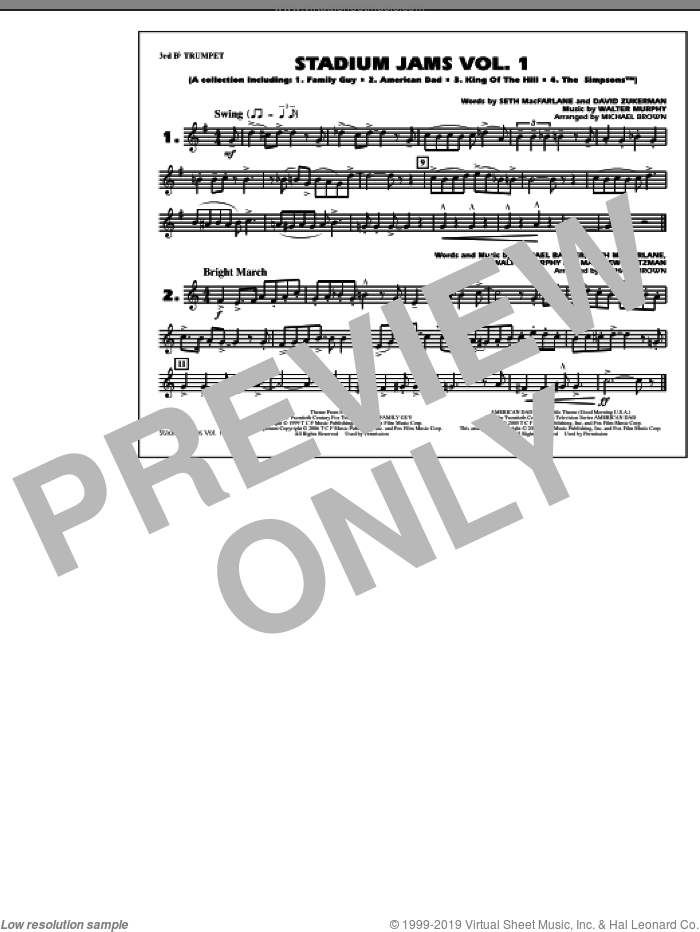 Stadium Jams, vol. 1 sheet music for marching band (3rd Bb trumpet) by Michael Brown, intermediate. Score Image Preview.