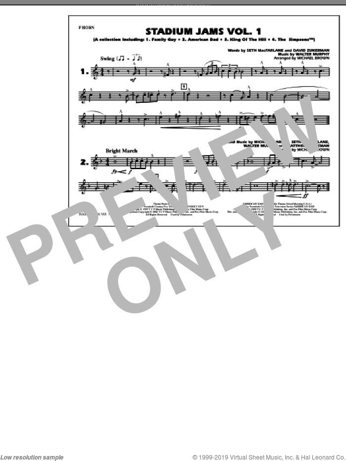 Stadium Jams, vol. 1 sheet music for marching band (f horn) by Michael Brown, intermediate skill level