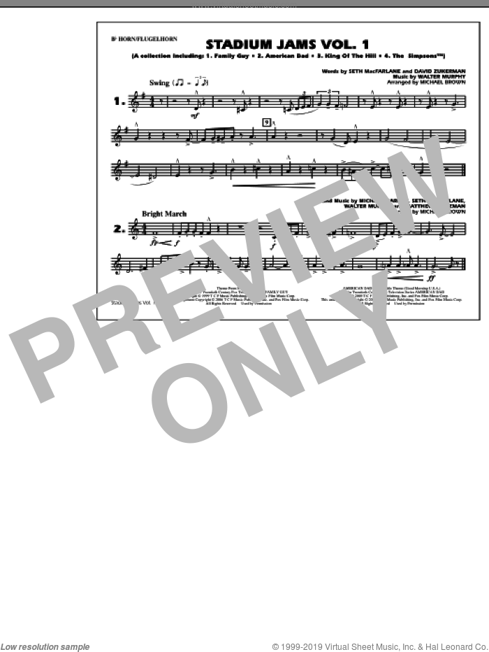 Stadium Jams, vol. 1 sheet music for marching band (Bb horn/flugelhorn) by Michael Brown, intermediate. Score Image Preview.