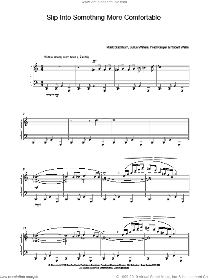 Slip Into Something More Comfortable sheet music for piano solo, intermediate skill level