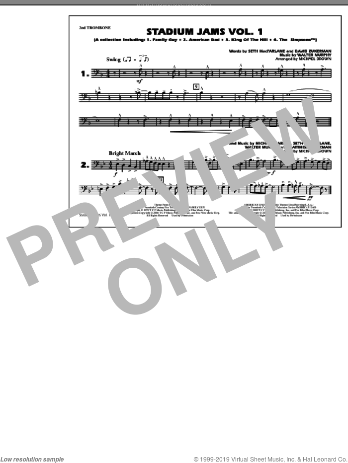 Stadium Jams, vol. 1 sheet music for marching band (2nd trombone) by Michael Brown, intermediate marching band (2nd trombone). Score Image Preview.