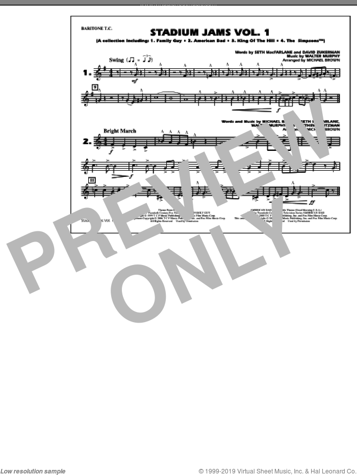 Stadium Jams, vol. 1 sheet music for marching band (baritone t.c.) by Michael Brown, intermediate skill level