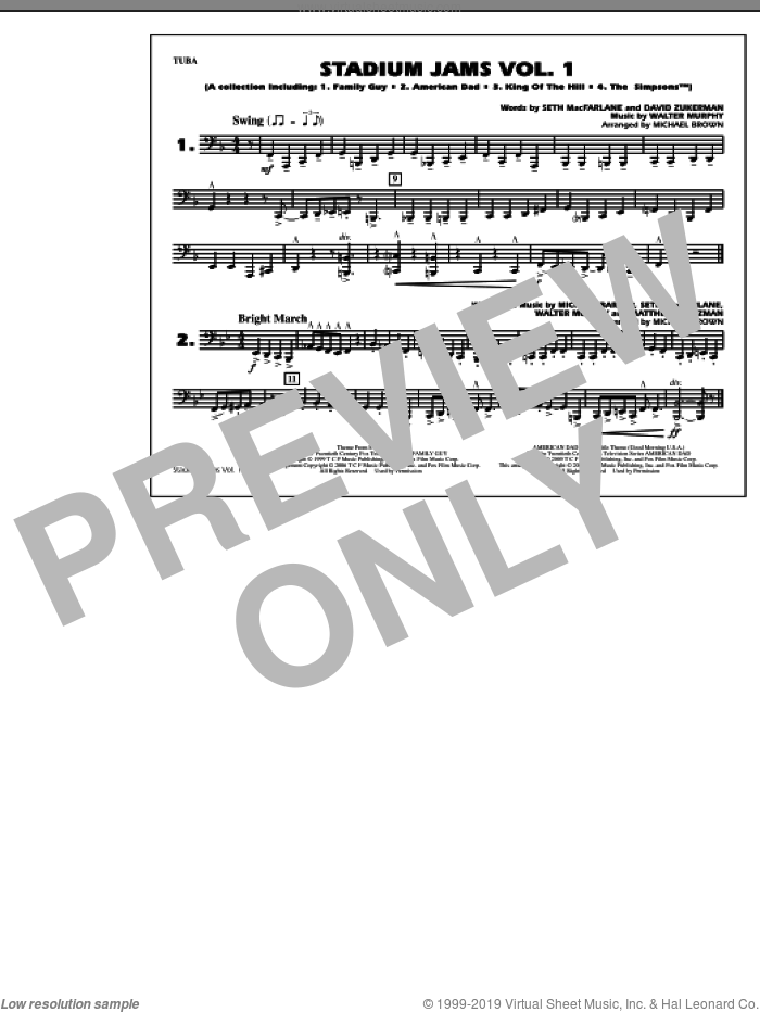 Stadium Jams, vol. 1 sheet music for marching band (tuba) by Michael Brown, intermediate skill level