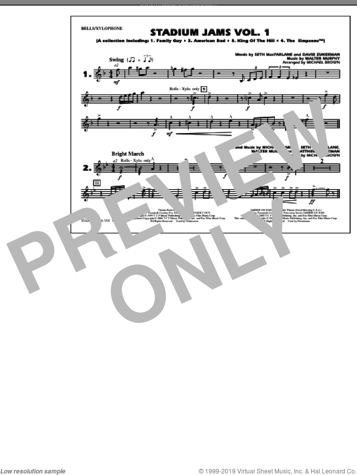 Stadium Jams, vol. 1 sheet music for marching band (bells/xylophone) by Michael Brown, intermediate skill level