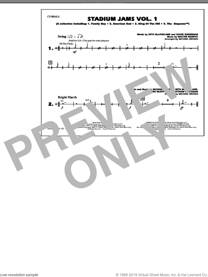 Stadium Jams, vol. 1 sheet music for marching band (cymbals) by Michael Brown, intermediate skill level