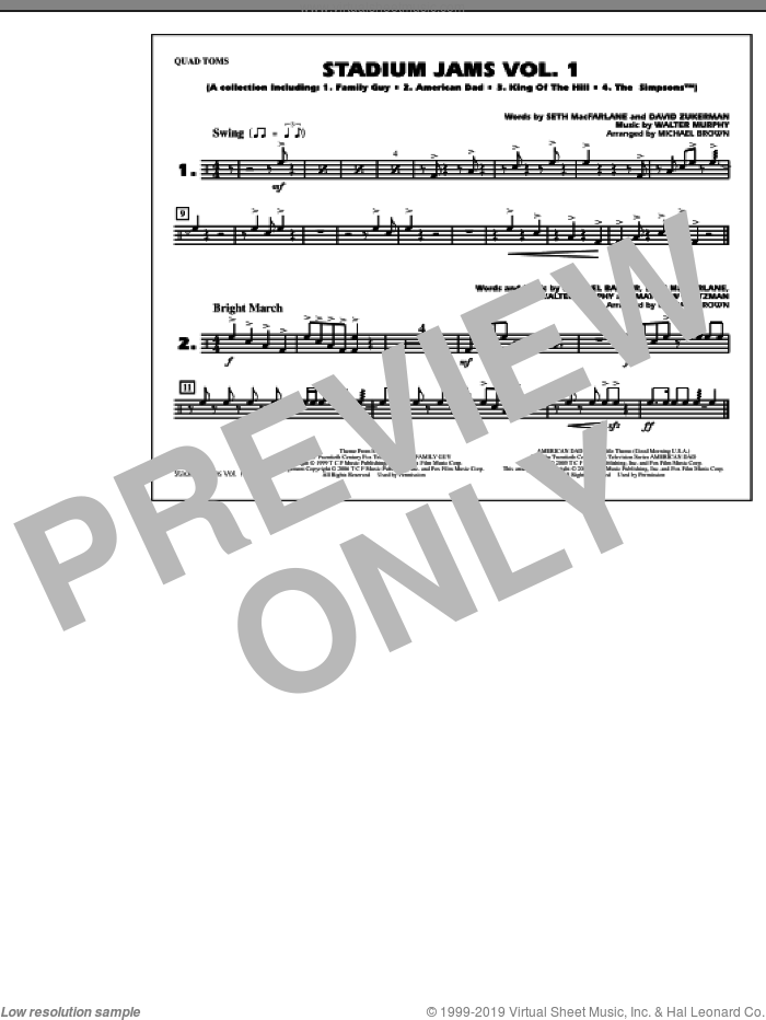 Stadium Jams, vol. 1 sheet music for marching band (quad toms) by Michael Brown, intermediate skill level