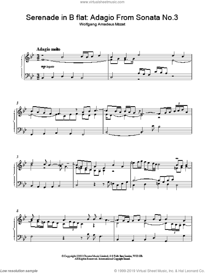 Serenade in B flat: Adagio From Sonata No.3 sheet music for piano solo. Score Image Preview.