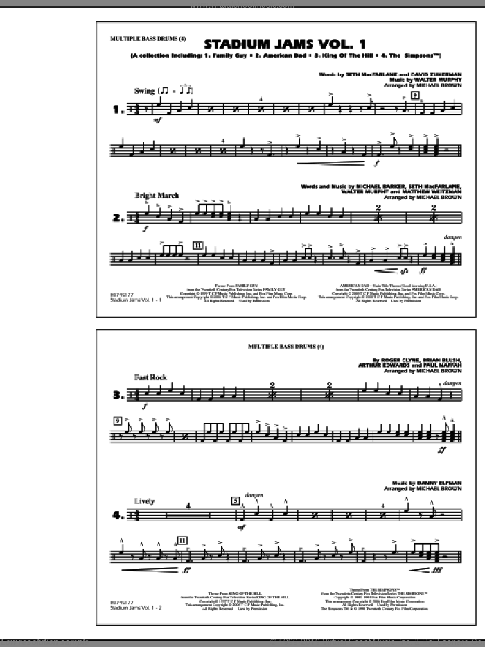 Stadium Jams, vol. 1 sheet music for marching band (multiple bass drums) by Michael Brown, intermediate skill level