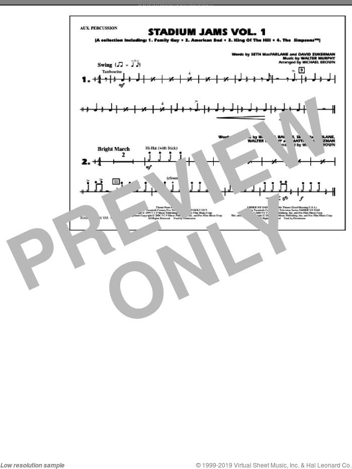 Stadium Jams, vol. 1 sheet music for marching band (aux percussion) by Michael Brown, intermediate skill level