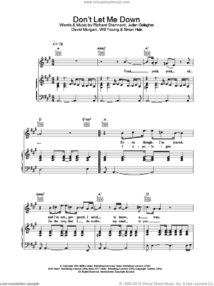 Don't Let Me Down sheet music for voice, piano or guitar by Will Young. Score Image Preview.