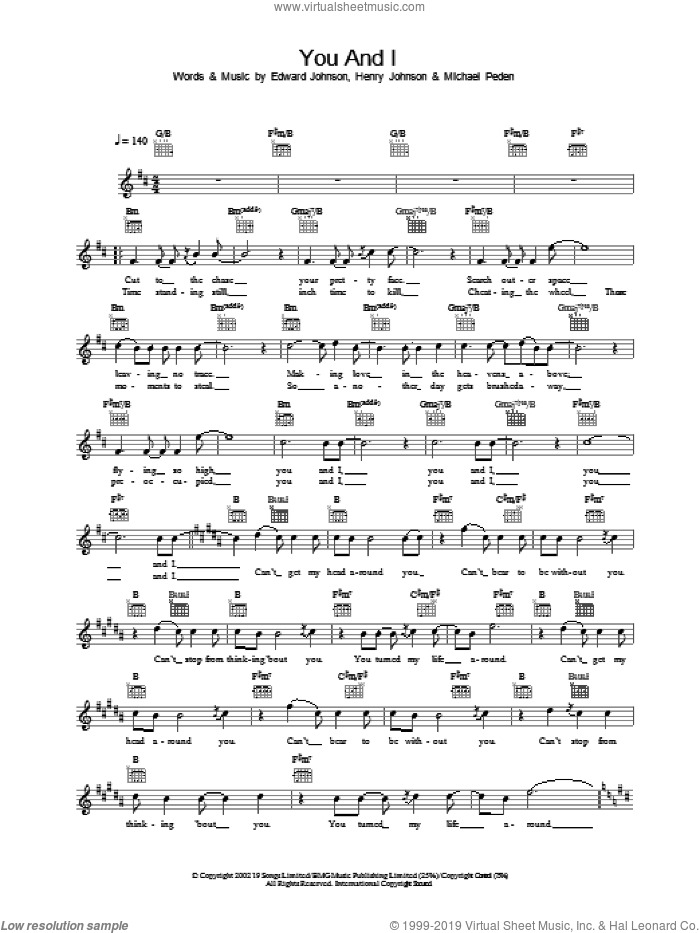 You And I sheet music for voice and other instruments (fake book) by Will Young, intermediate