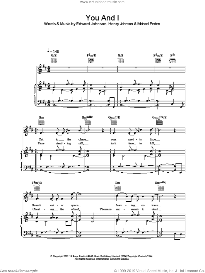 You And I sheet music for voice, piano or guitar by Will Young, intermediate skill level