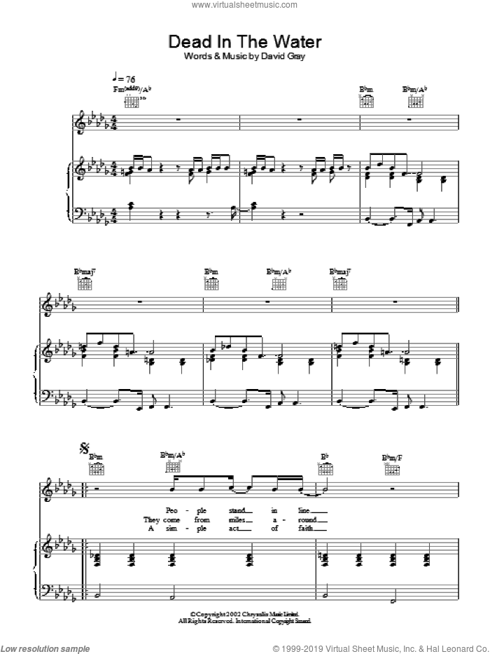 Dead In The Water sheet music for voice, piano or guitar by David Gray. Score Image Preview.