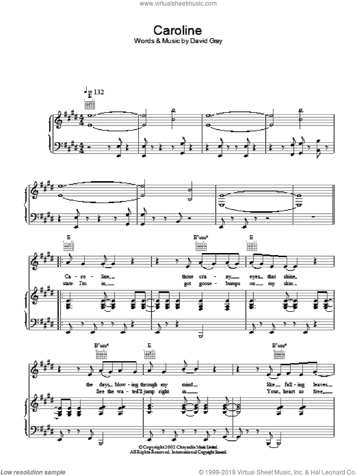 Caroline sheet music for voice, piano or guitar by David Gray. Score Image Preview.