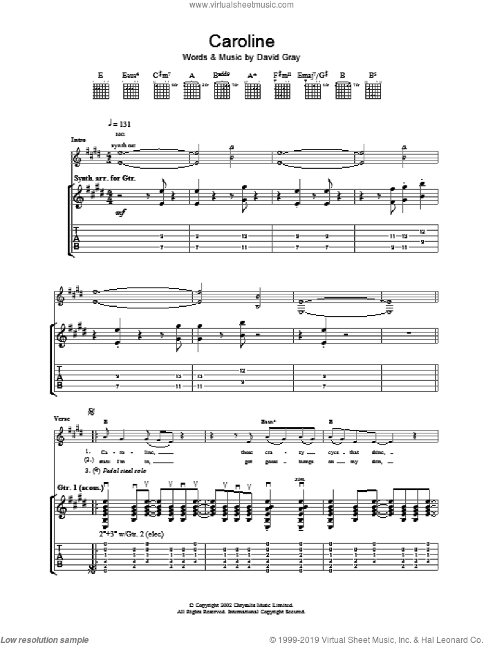 Caroline sheet music for guitar (tablature) by David Gray. Score Image Preview.