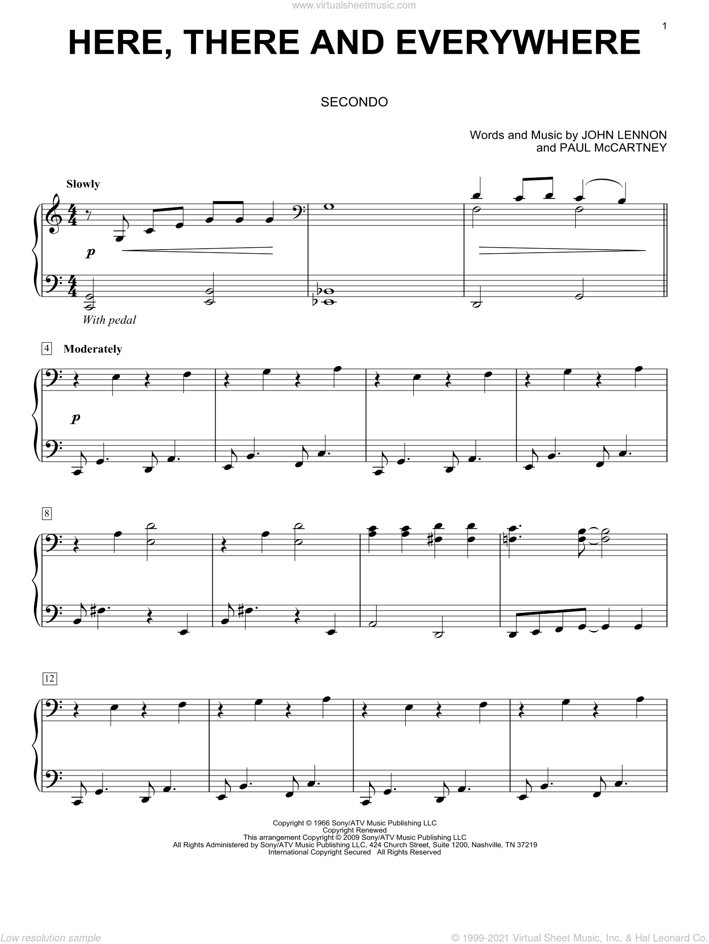 Here, There And Everywhere sheet music for piano four hands by The Beatles, John Lennon and Paul McCartney, wedding score, intermediate skill level