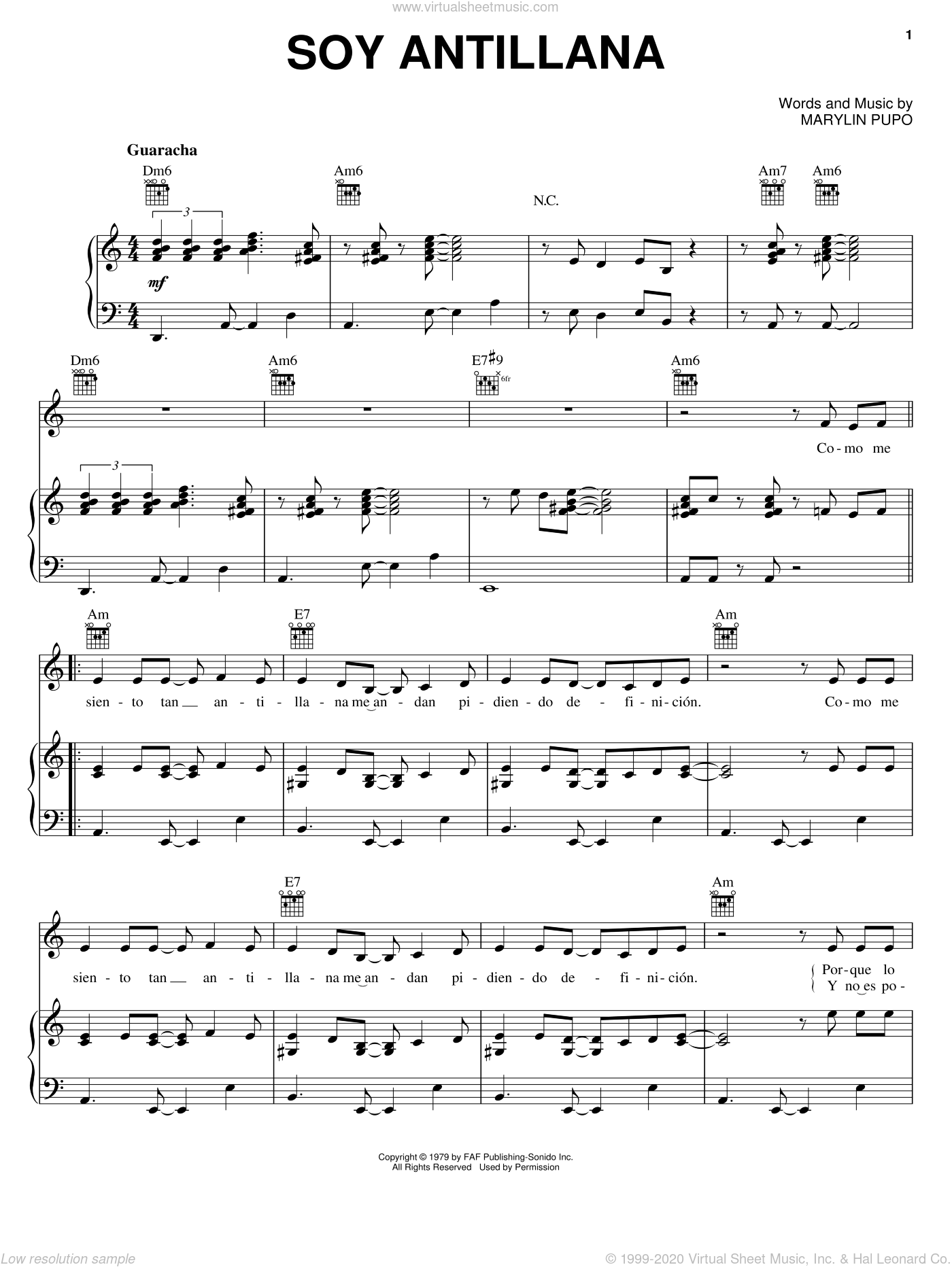 Soy Antillana sheet music for voice, piano or guitar by Marylin Pupo