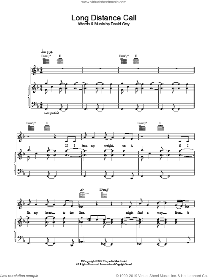Long Distance Call sheet music for voice, piano or guitar by David Gray. Score Image Preview.