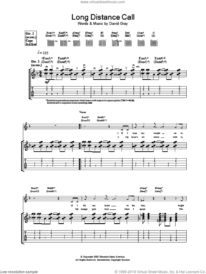 Long Distance Call sheet music for guitar (tablature) by David Gray, intermediate. Score Image Preview.