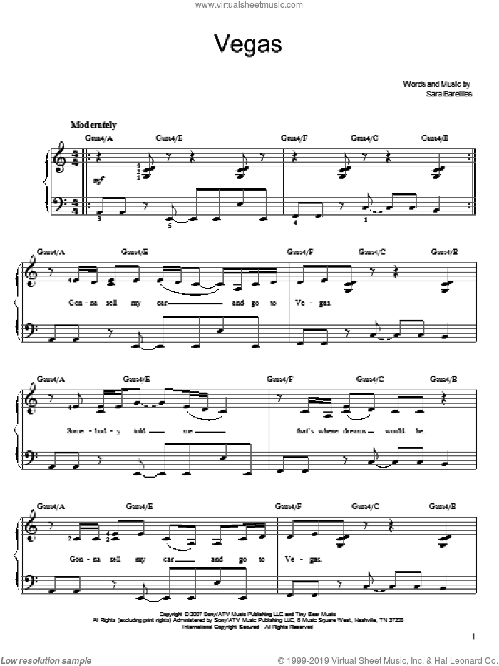 Vegas sheet music for piano solo by Sara Bareilles. Score Image Preview.