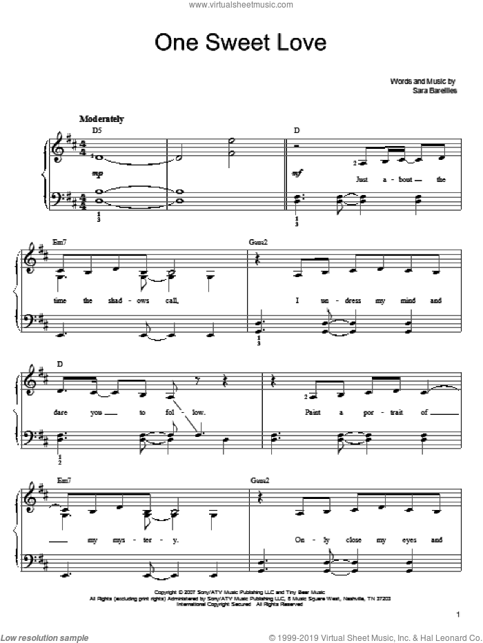 One Sweet Love sheet music for piano solo by Sara Bareilles, easy. Score Image Preview.