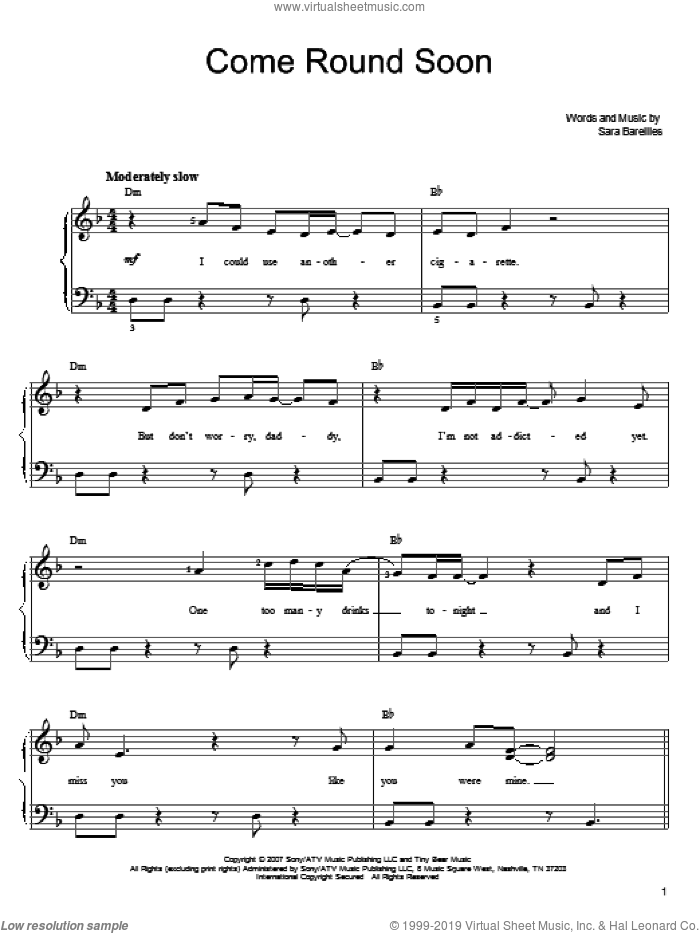 Come Round Soon sheet music for piano solo by Sara Bareilles. Score Image Preview.