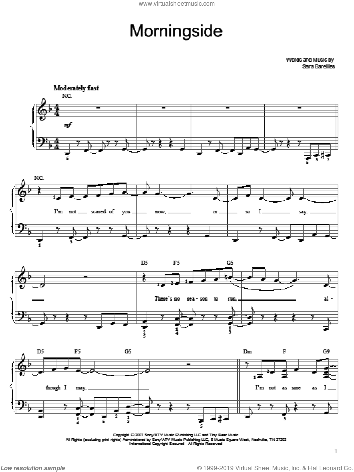 Morningside sheet music for piano solo by Sara Bareilles. Score Image Preview.