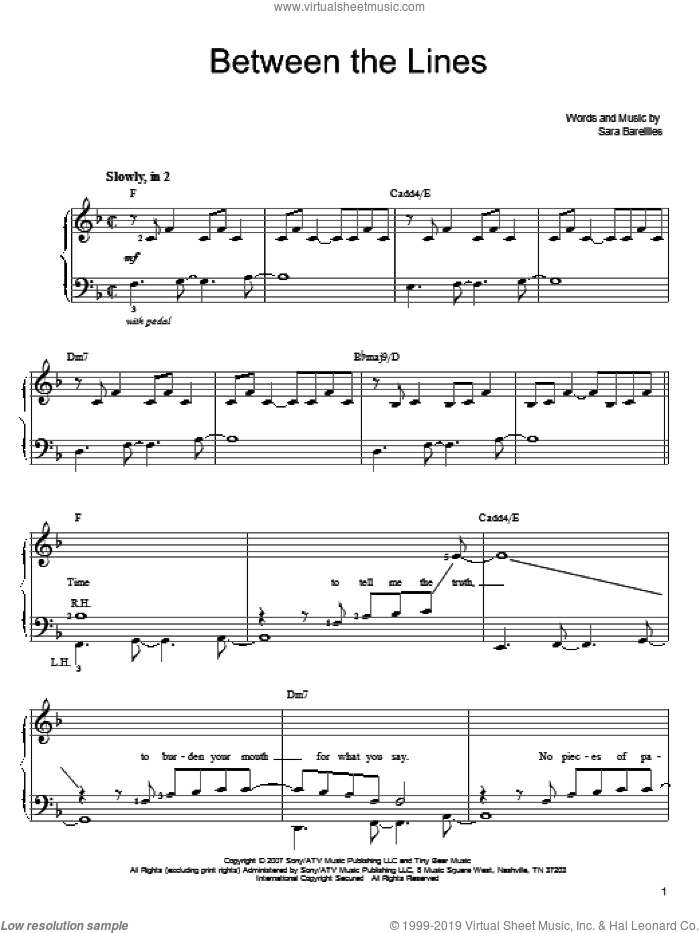 Between The Lines sheet music for piano solo by Sara Bareilles, easy skill level