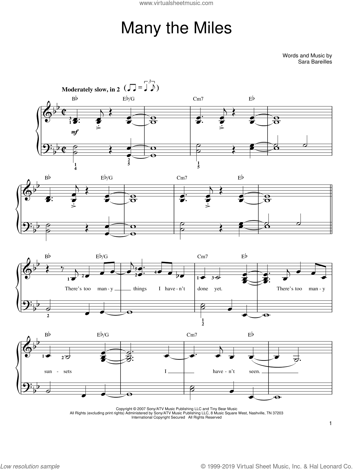 Many The Miles sheet music for piano solo by Sara Bareilles, easy. Score Image Preview.