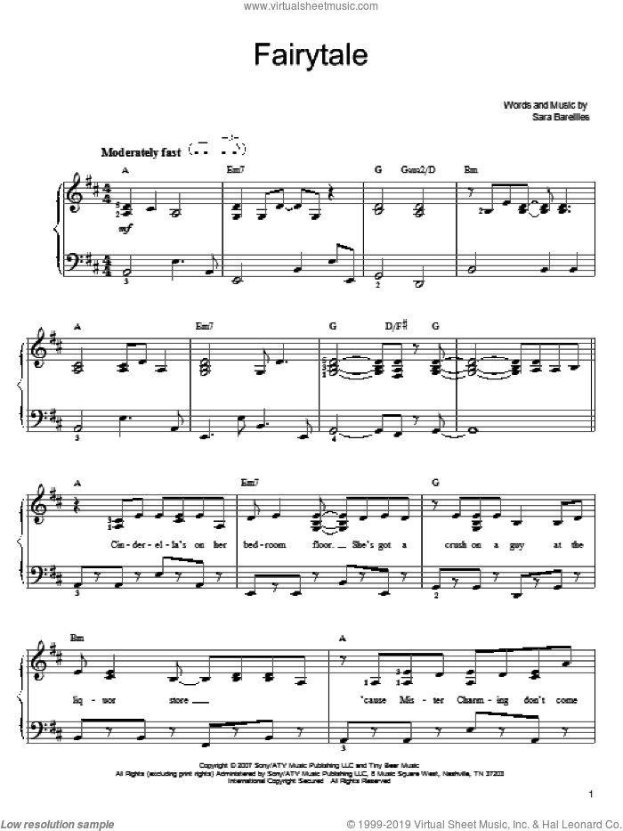 Fairytale sheet music for piano solo by Sara Bareilles. Score Image Preview.
