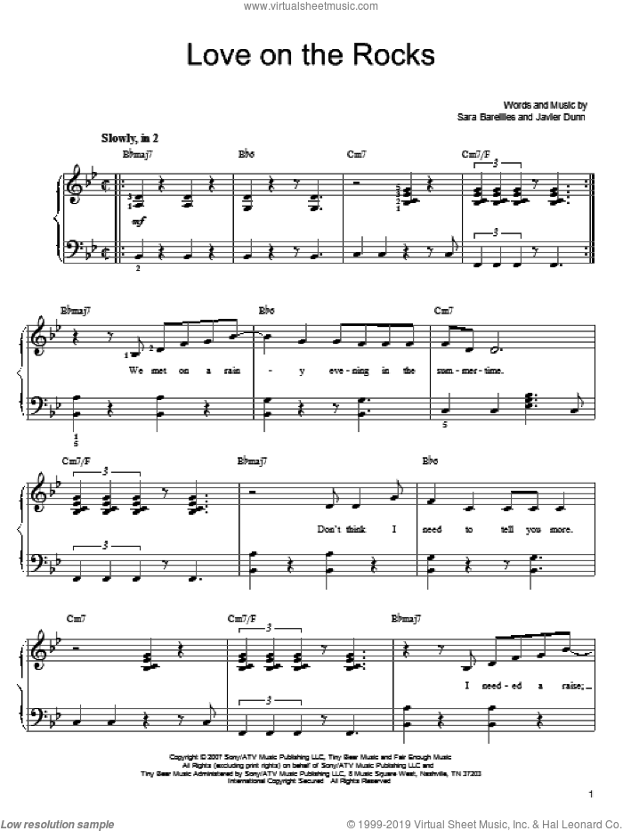 Love On The Rocks sheet music for piano solo by Javier Dunn and Sara Bareilles. Score Image Preview.