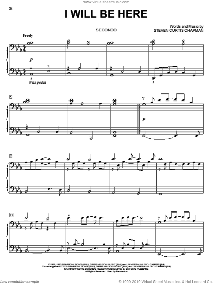 I Will Be Here sheet music for piano four hands by Steven Curtis Chapman, wedding score, intermediate skill level