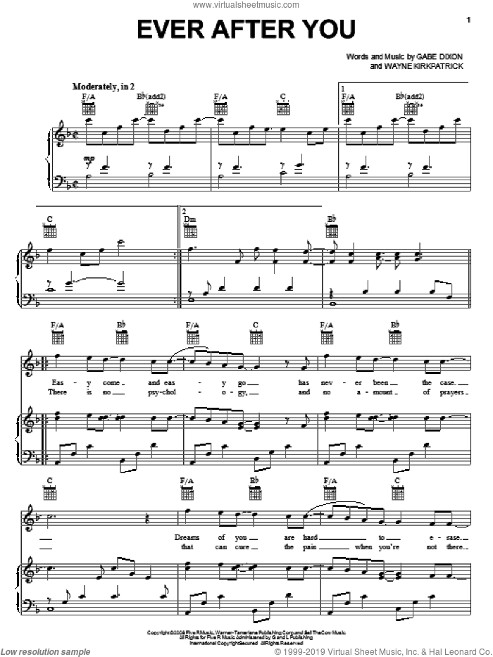 Ever After You sheet music for voice, piano or guitar by The Gabe Dixon Band, Gabe Dixon and Wayne Kirkpatrick, intermediate
