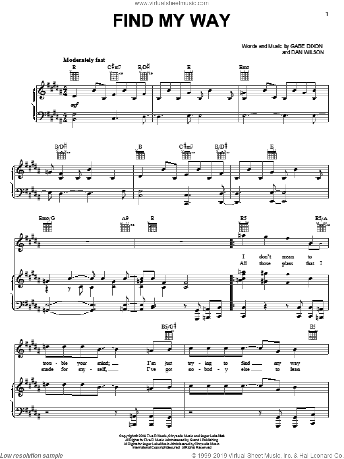 Find My Way sheet music for voice, piano or guitar by The Gabe Dixon Band and Dan Wilson, intermediate. Score Image Preview.
