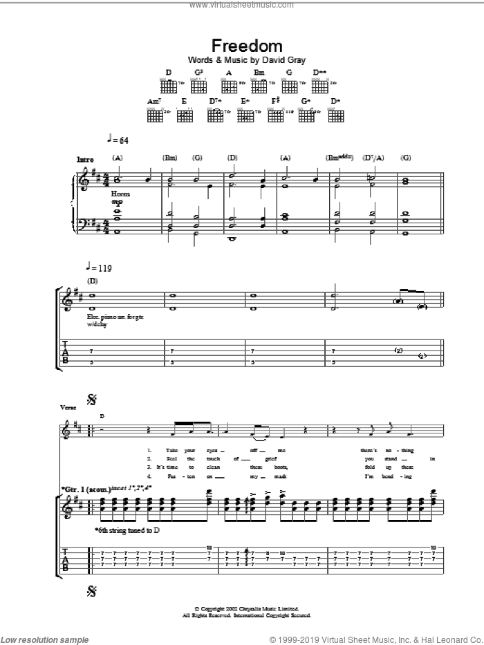 Freedom sheet music for guitar (tablature) by David Gray. Score Image Preview.