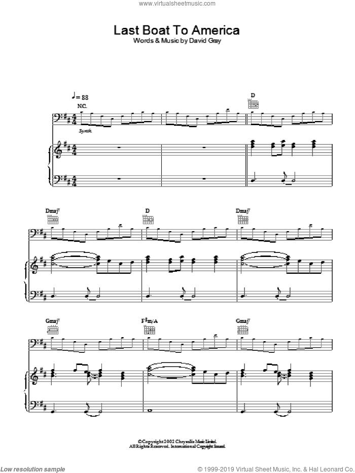 Last Boat To America sheet music for voice, piano or guitar by David Gray, intermediate skill level