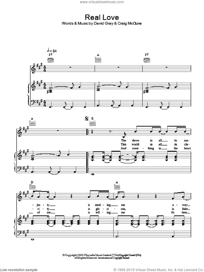 Real Love sheet music for voice, piano or guitar by David Gray. Score Image Preview.