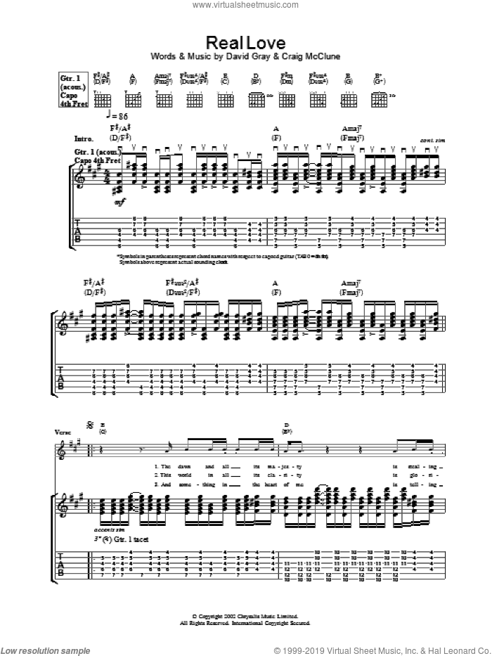 Real Love sheet music for guitar (tablature) by David Gray, intermediate skill level