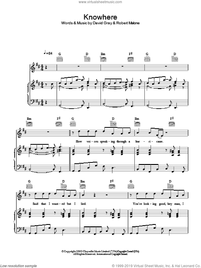 Knowhere sheet music for voice, piano or guitar by David Gray, intermediate. Score Image Preview.