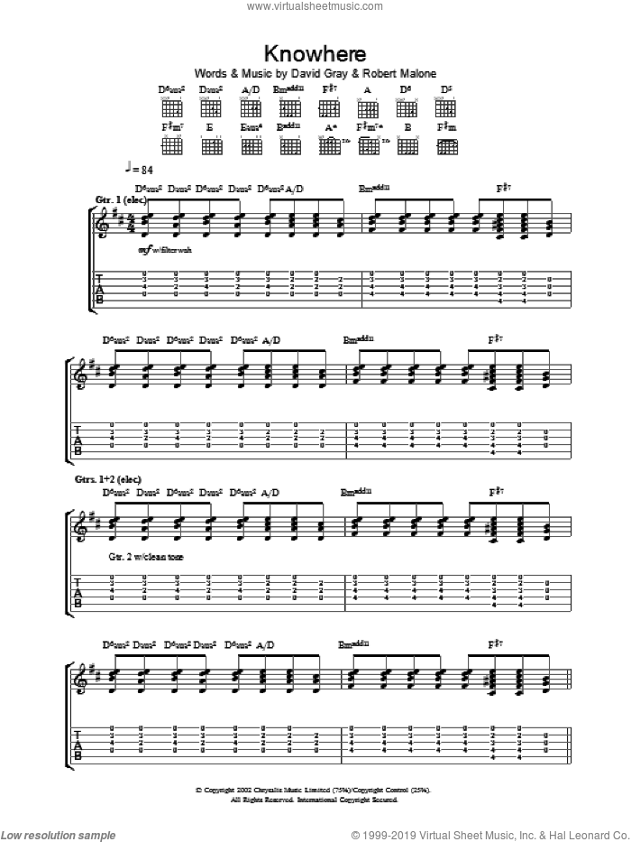 Knowhere sheet music for guitar (tablature) by David Gray, intermediate. Score Image Preview.