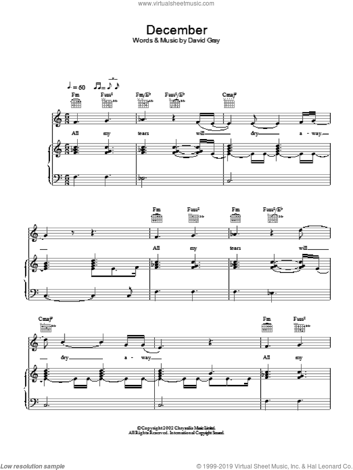 December sheet music for voice, piano or guitar by David Gray, intermediate voice, piano or guitar. Score Image Preview.
