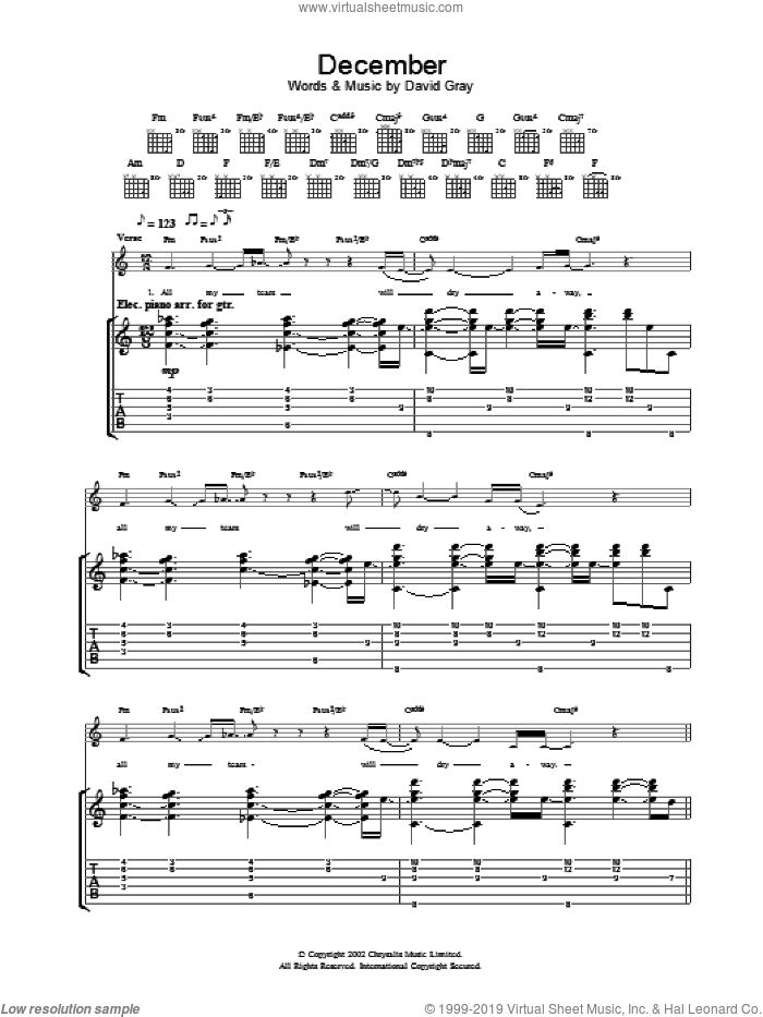 December sheet music for guitar (tablature) by David Gray. Score Image Preview.