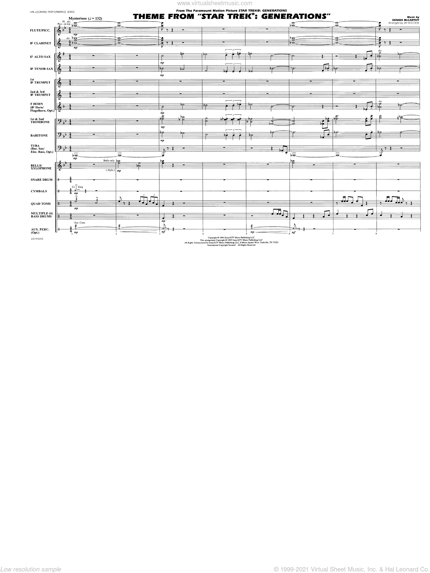 Theme from Star Trek: Generations sheet music for marching band (full score) by Dennis McCarthy