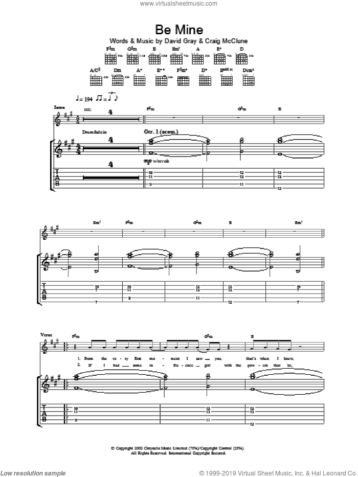 Be Mine sheet music for guitar (tablature) by David Gray. Score Image Preview.