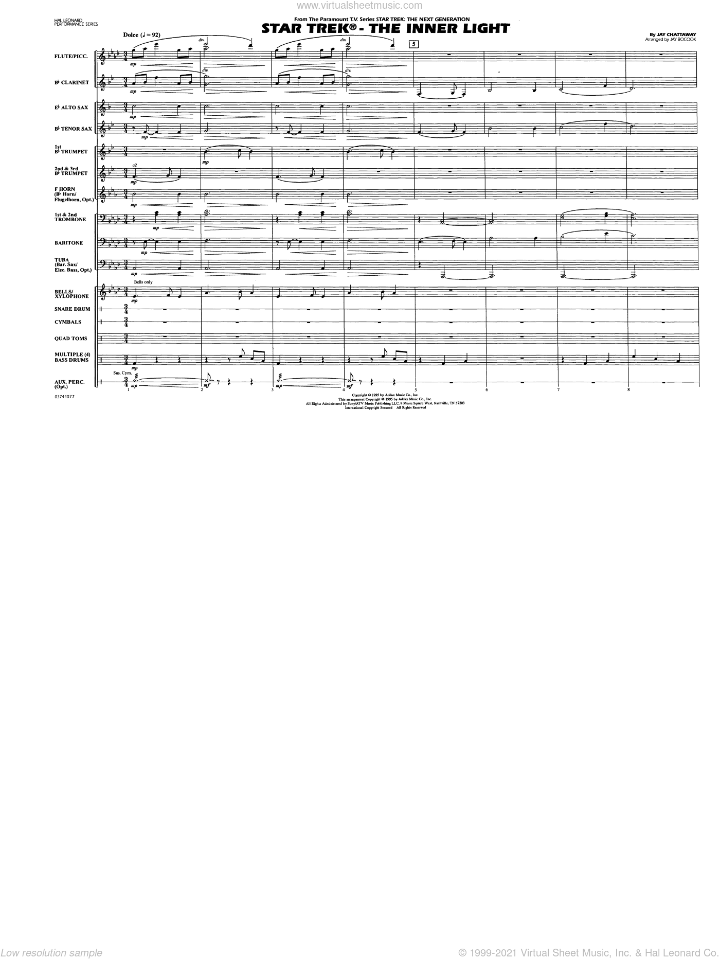 Star Trek, the inner light sheet music for marching band (full score) by Jay Chattaway