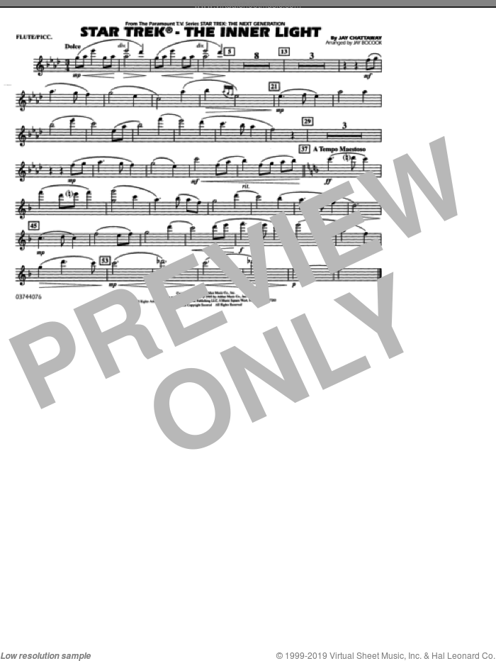 Star Trek, the inner light sheet music for marching band (flute/piccolo) by Jay Chattaway