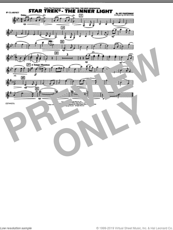 Star Trek, the inner light sheet music for marching band (Bb clarinet) by Jay Chattaway