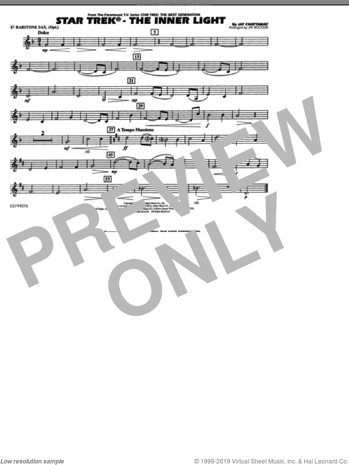 Star Trek, the inner light sheet music for marching band (Eb baritone sax) by Jay Chattaway